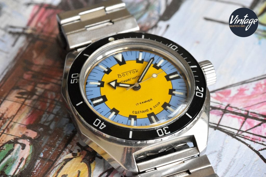 Vostok Amphibian with yellow dial, gorgeous example of a Soviet watch design